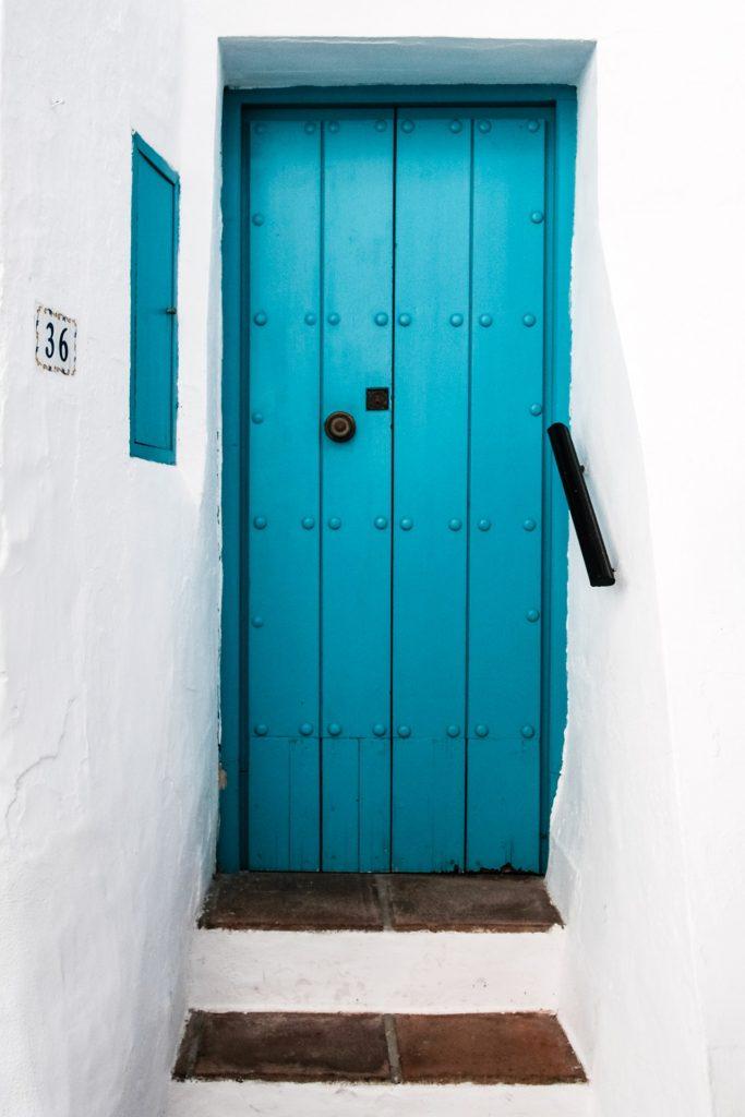 A blue wood door